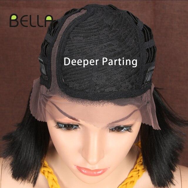 Bella rubio corto BOB peluca para mujer 10 pulgadas sintético peluca con malla frontal negro Ombre 613 marrón pelo sintético recto parte lateral