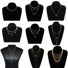 9 Pcs/ Set Fashion Tassel Multilayer Chain Necklace Charms Crystal Sequins Pendant Long Necklace for Women Collares Jewelry multilayer tassel diamante jewelry set