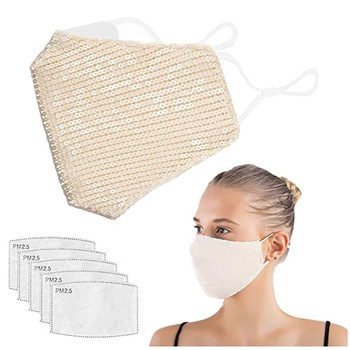 1 Sequins Face Mask 5 Filters Woman Washable Masks For Face Beige Reusable Mouth Masker Mascarillas Filtro Matematica Cubreboca