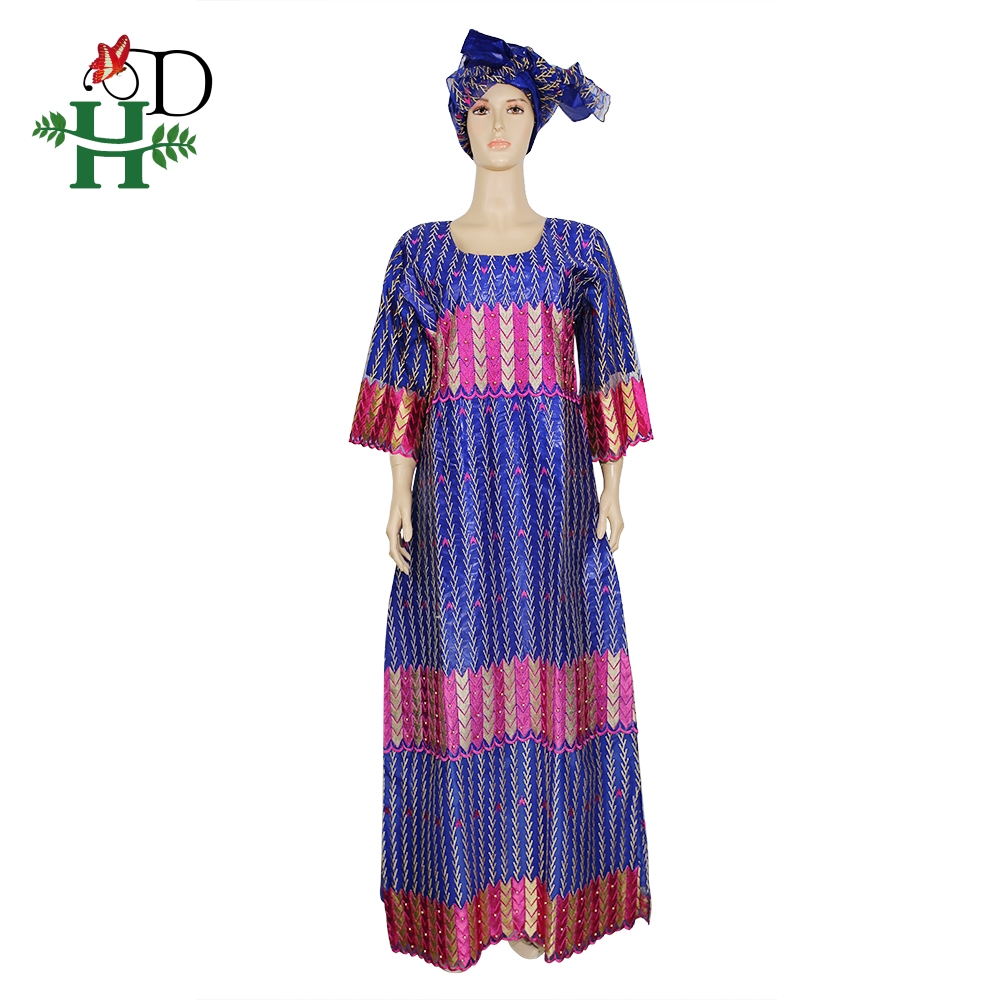 H&D Beaded Ankara Dresses For Women Dashiki Bazin Riche Maxi Dress Lace Dresses With Head Wrap Robe Africaine Femme Grand Taille