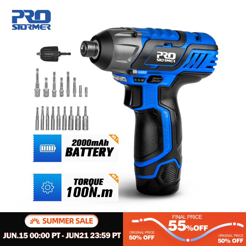 100NM Electric Screwdriver 12V Cordless Drill/Driver Screw Lithium Battery Rechargeable Hexagon Power Tools by PROSTORMER|Electric Screwdrivers|   - AliExpress
