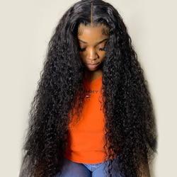 30-40 дюймов изогнутый Синтетические волосы на кружеве парики из натуральных волос для Для женщин кожа с необработанным предварительно вырез...
