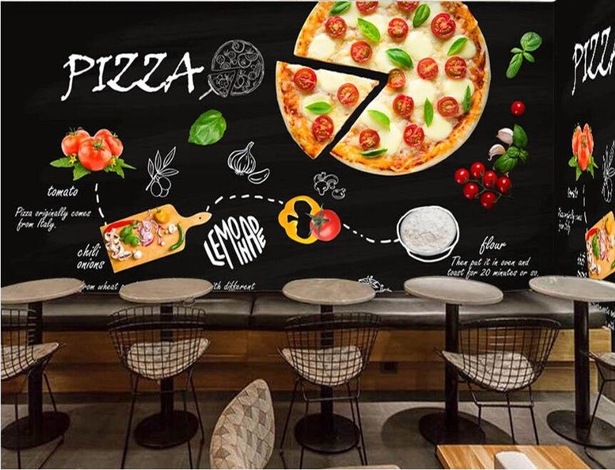 Custom Black Hand-painted Pizza Shop Western Restaurant Stitching, Seamless Background Wallpaper Mural