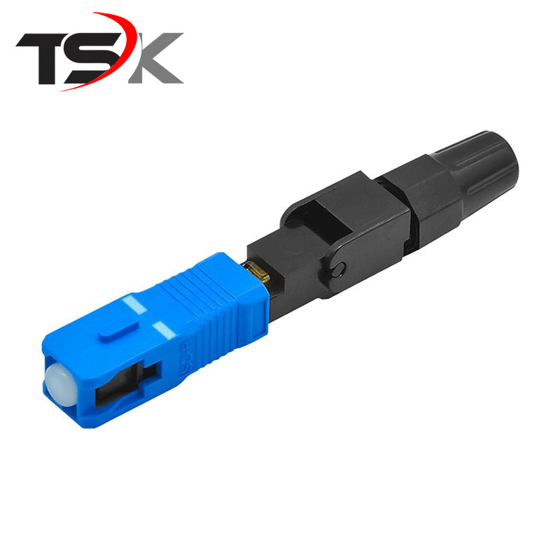 SC UPC Fiber Optic Fast Connector 100 SC FAST Connector Blue Fibra FTTH Single Mode SC Quick Connector SC Adapter Field Assembly