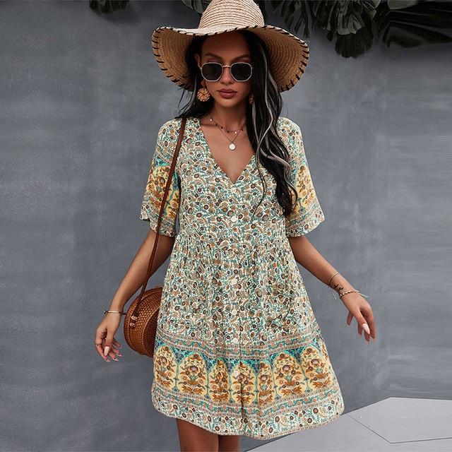 2021 Spring Print Short Dress Women Casual V Neck Bohemian Short Sleeve Dress For Woman Fashion Sexy Summer Dress 1