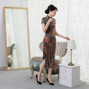 Image 3 - summer 2019 new high end silk cheongsam improved elegant long mulberry silk short sleeve cheongsam dress women Retro