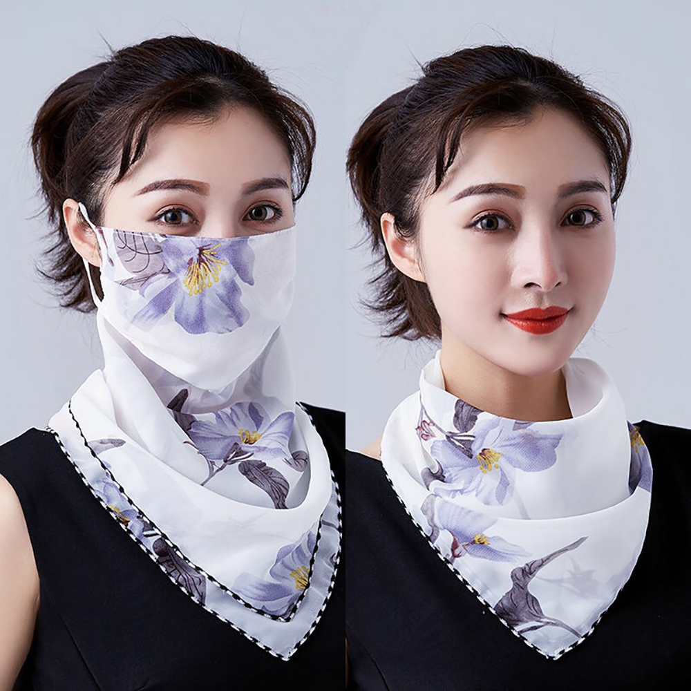 Chiffon Summer Sun Protection Half Face Mask Scarf Women Mouth Mask Face Cover Outdoor Riding Driving Dust-proof Windproof