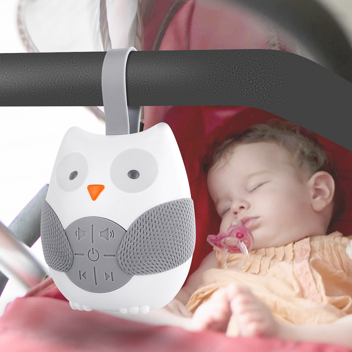 Portable Baby Sleep Cartoon Owl White Noise Machine Soothers Sound Record Voice Sensor