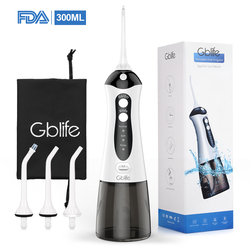 GBlife FC159 Oral Irrigator USB Rechargeable Water Flosser Portable Dental Water Jet 300ML Water Tank Waterproof Teeth Cleaner