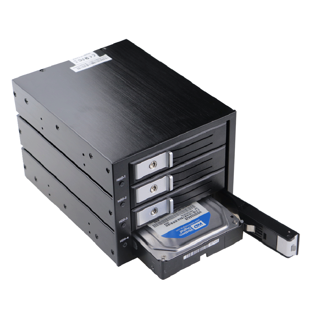 Aluminum 4 Bay Internal Mobile Rack For 3.5 Inch HDD Tray-Less SATA III Hard Drive Backplane Enclosure To 3x 5.25