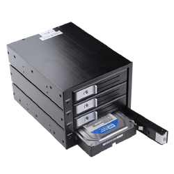 Aluminum 4 Bay Internal Mobile Rack For 3.5 Inch HDD Tray-Less SATA III Hard Drive Backplane Enclosure to 3x 5.25 Drive Bay