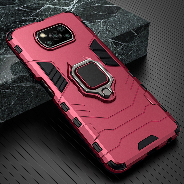 KEYSION Shockproof Case for Xiaomi POCO X3 GT NFC M3 Pro 5G F2 Ring Stand Phone Back Cover for Xiaomi Pocophone X3 Pro X2 F3 F1 7