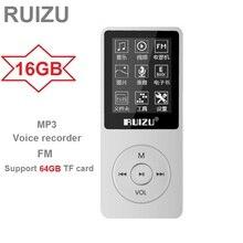 RUIZU X02 Ultrathin MP3 Player USB 8GB Support 64GB TF Card 1.8 Inch Screen Play 80h Radio FM E-Book Music Player Voice Recorder