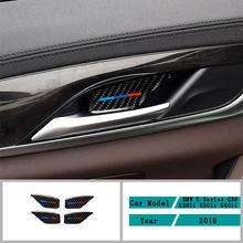 Автомобильные аксессуары из углеродного волокна, наклейки для внутренней двери и чаши, Обложка, отделка, наклейки для BMW 5 серии G30 G38 528li 530li ...