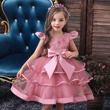 Платье детское летнее с большим бантом высокой талией и блестками