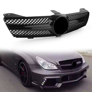 Car Front Grille Gloss Black 1 Fin Upper Grill For Mercedes Benz C219 W219 CLS Class CLS350 CLS500 SLS600 2004 2005 2006 2007