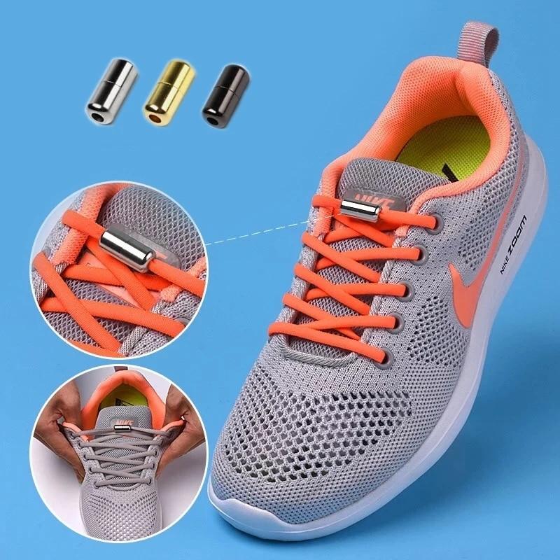 1Pair off white Metal Lock Shoelaces Round Elastic Shoe Laces Special No Tie Shoelace for Men Women Lacing Rubber Zapatillas
