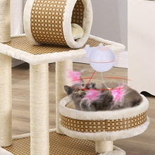 Cat Toy 2 in 1 Automatic Rotating Pointer Toy and Interactive Feather Toy with Bell for Cat Tree, El