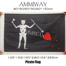 AMMIWAY Jolly Roger Skull Cross Bones Edward Teach Blackbeard Pirate Flags Polyester Brass Grommets Custom Flags and Banners