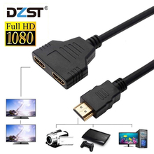 DZLST 1080P 2 Port HDMI Splitter 1 in 2 Out HDMI Male to HDMI Female Adapter Converter Video Cable HDMI Switch for PC Display