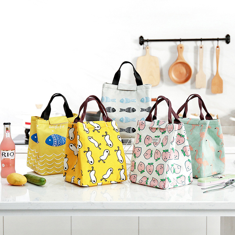 Lattice Print Lunch Bag Portable Cooler Insulated Picnic Bento Tote Travel Fruit Food Bag Fresh Organizer Accessories Supplies