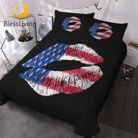 BlessLiving Stylish Lips Bedding Set American Flag Duvet Cover With Pillowcases 3pcs Golden Glitter Trendy Chic Comforter Cover