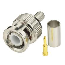 3 in 1 BNC Male Crimp RG59 RG58 RF Coax Cable Straight Convert Connector for Security Camera Surveillance System