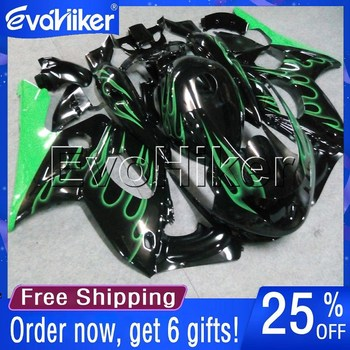 Custom motorcycle fairing for YZF600R Thunderent 1997-2007 98 99 00 01 02 03 04 05 06 ABS fairing green flames+gifts