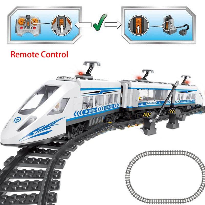 583pcs Technic RC Bouwstenen Compatibe legoed Stad elektrische motor passagierstrein power functie Afstandsbediening Rail Blokken-in Blokken van Speelgoed & Hobbies op  Groep 1