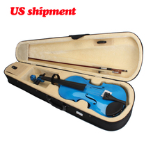 New 4/4  full size Acoustic Violin Case Bow Rosin Dark Blue  Acoustic Violin Basswood handmand Fashion violin