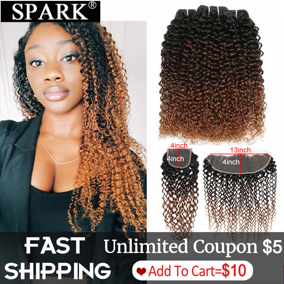 Spark Remy Ombre Human Hair Bundles With Frontal Brazilian Afro Kinky Curly Hair Human Hair Frontal With Bundles For Black Women