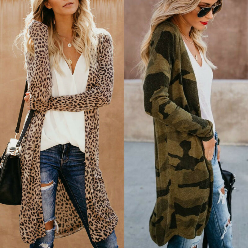 Women Spring Autumn Loose Cardigan Top Fashion Leopard Camouflage Print Casual Long Coat Female Outwear Tops