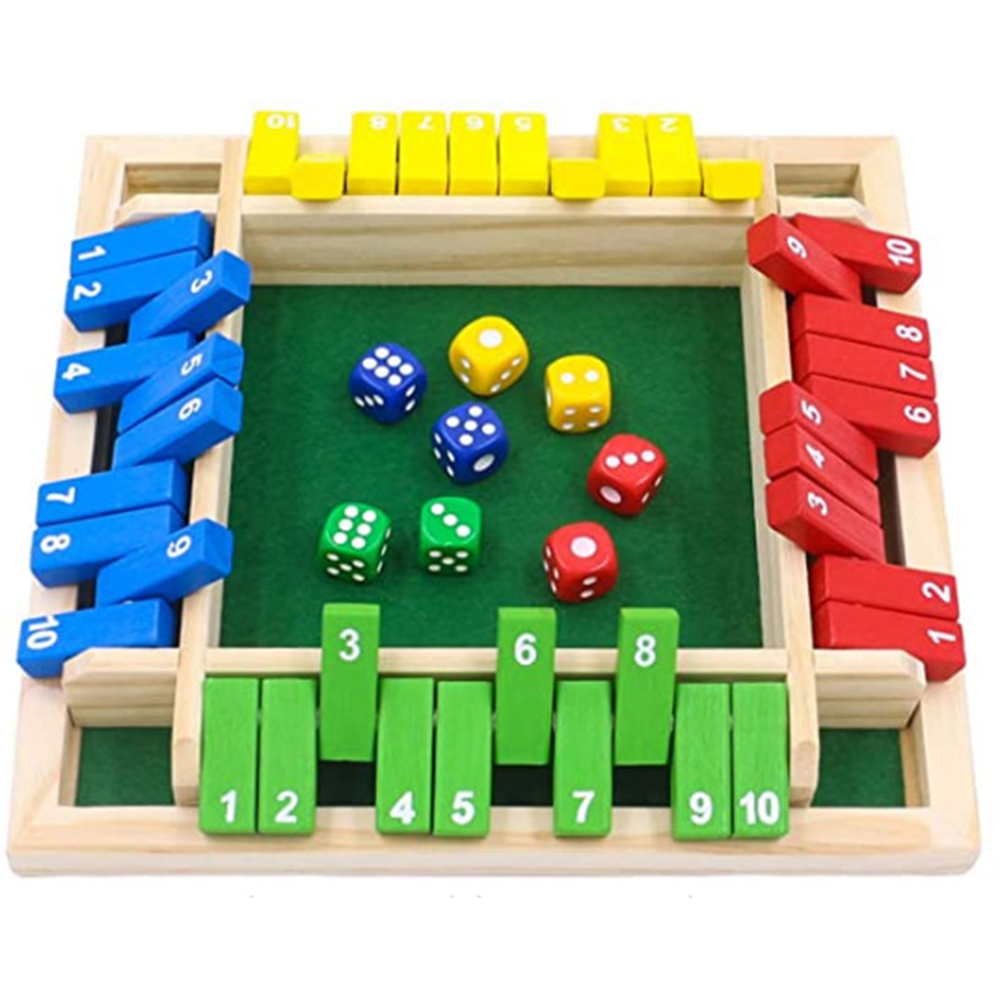 Wood Four Sided 10 Numbers Board Game Set Dice Table Entertainment Board Games Toy For Family Adults Party