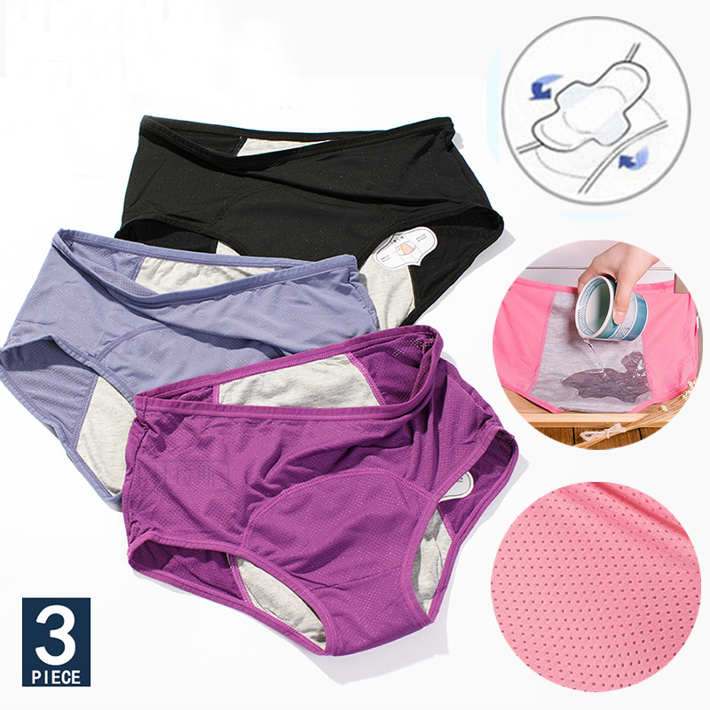 3PCS/SET Women Menstrual Panties Leak Proof Sexy Pants Incontinence Underwear Cotton Period Briefs High Waist Warm Underpants