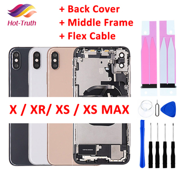 Full Back Cover For iphone X XR XS Max Housing Battery Door Middle Chassis Frame Housings Assembly Door Rear with Flex Cable 1