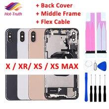 Capa traseira completa para o iphone x xr xs max habitação porta da bateria meio chassis quadro caixas montagem porta traseira com cabo flexível