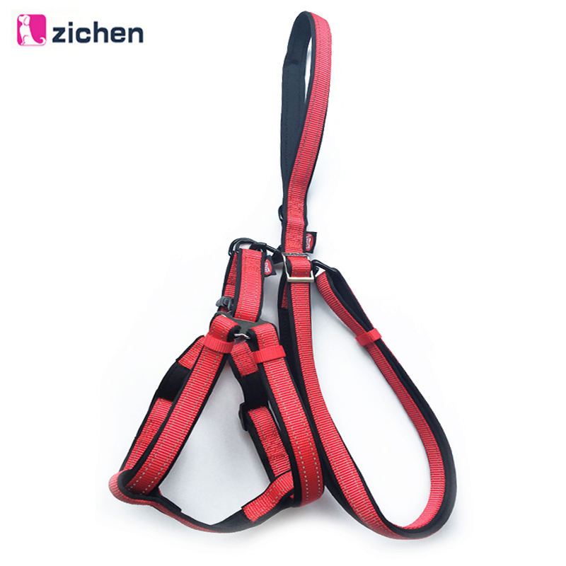 Zichen Dog Nylon Leash Harness Reflective Durable Lead for Daily Training Outdoor Large Medium S-XL