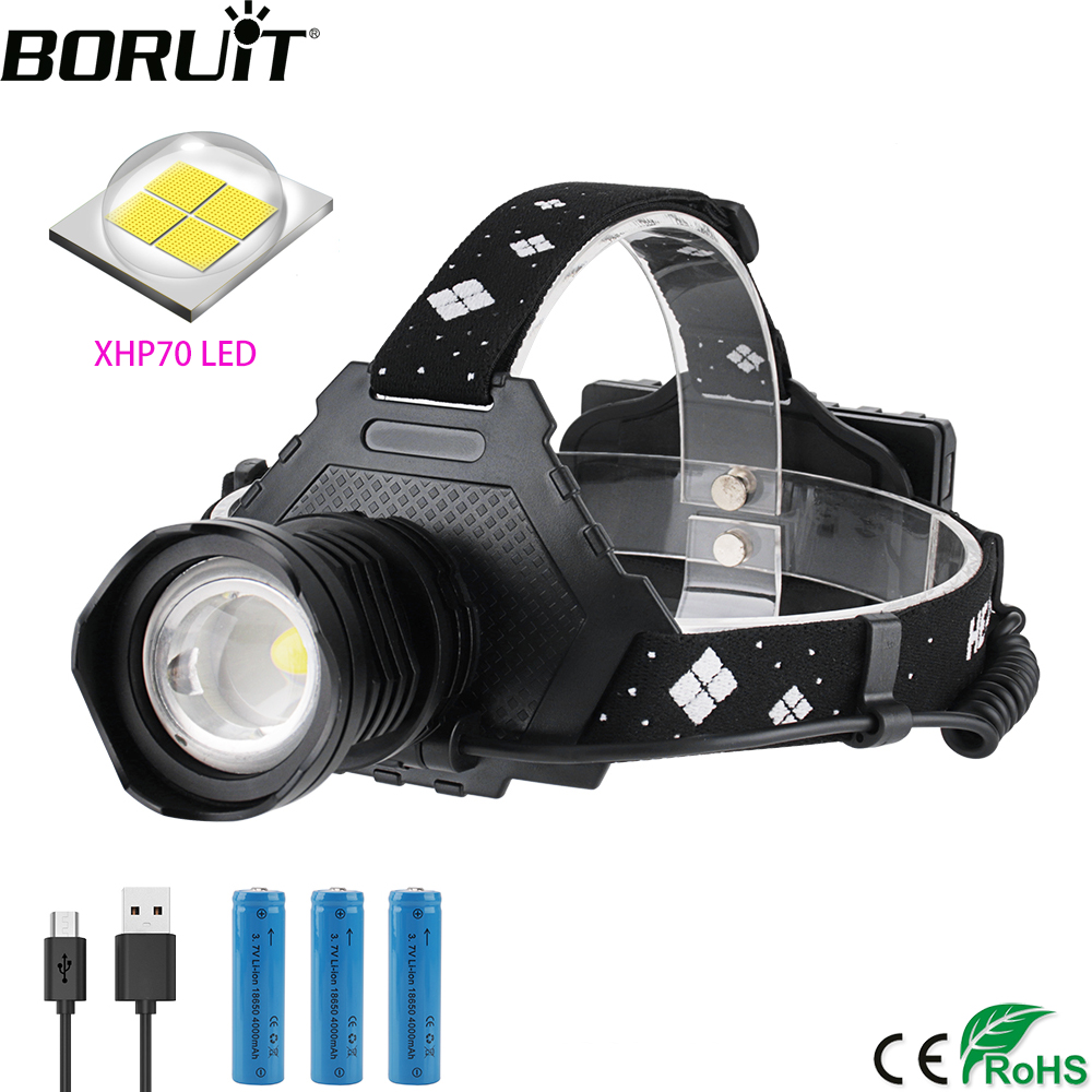 BORUiT 2064 LED Headlamp High Power XHP70 <font><b>3000LM</b></font> Zoom Headlight 5-Mode Power Bank Head Torch 18650 Rechargeable Flashlight image