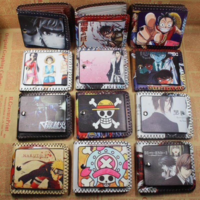 New Arrival Anime One Piece//Attack on Titan Wallet Wanted Posters Design Short Purse for Young