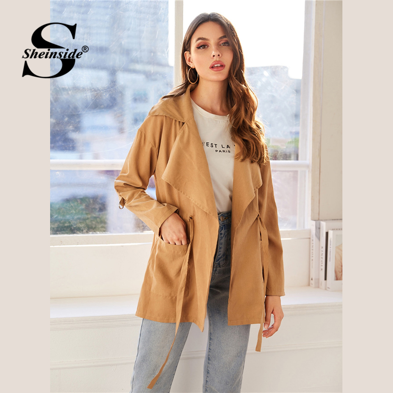 Sheinside Khaki Casual Drawstring Waist Trench Coat Women 2019 Autumn Pocket Detail Outerwear Ladies Waistline Long Coat SHEINSIDE Women Women's Sheinside Collection
