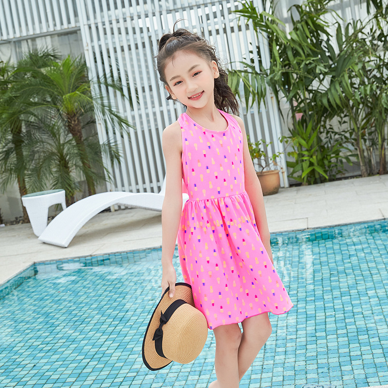 2019 New Style Children Swimsuit Skirt One-piece Less Girls Medium-sized Child Wen Quan Bao Bao Swimwear Supply Of Goods