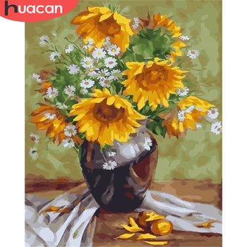 HUACAN Sunflower DIY Pictures By Number Kits Home Decoration Painting By Numbers Flower Drawing On Canvas HandPainted Art Gift