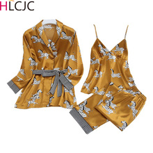 春の女性の氷の絹のパジャマセットパンツサテンゼブラプリントパジャマ女性のセクシーなスパゲッティストラップスパースター 3 個ホーム着用
