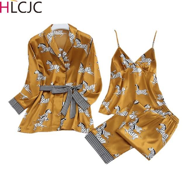 Wiosna kobiety lodu jedwabne piżamy zestawy z spodnie satynowe Zebra druku piżamy kobiet Sexy Spaghetti pasek piżamy 3 sztuk do noszenia w domu