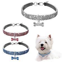 Cute Bone Bling Rhinestone Chocker Mini Pet Crystal Collars Fancy Dog Necklace Mascotas