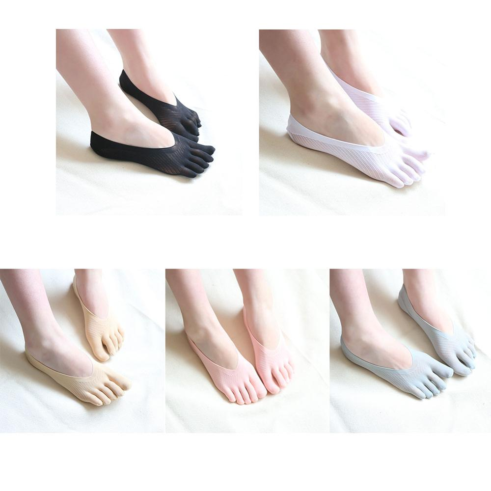 1pair New Arrival Women's Socks Fashion Socks Five Toe Sock Slippers Invisibility For Solid Color Five Finger Socks meias 1