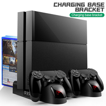 For PS4/PS4 Slim/PS4 Pro Console Vertical Stand with Cooling Fan Dual Controller Charger Charging Dock Station for Playstation 4 ootdty vertical stand mount holder dock cradle for ps4 pro game accessories console
