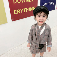 2019 Fall Plaid Classic Suit Skirt 3pcs/set Tie Kids Girls School Style Skirt Casual Children Girls Fashion INS Girl Clothes