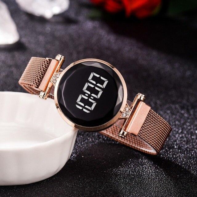 Reloj con imán Digital para mujer, banda de malla de acero inoxidable, pantalla LED, regalo 5