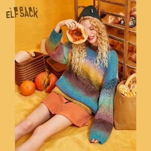Image 4 - ELFSACK קשת צבע פסים נשים Sweater.2019 חורף אופנה מתוק שיפוע רמפה סרוג צמרות אנגורה ענקיות סתיו בגדים